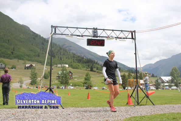 Leila Degrave of Leadville setting the new women's 50K course record.